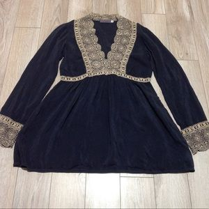 Johnny Was Black & Gold Eyelet Embroidered tunic